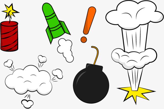 Vector cartoon firecracker smoke. Bomb clipart rocket