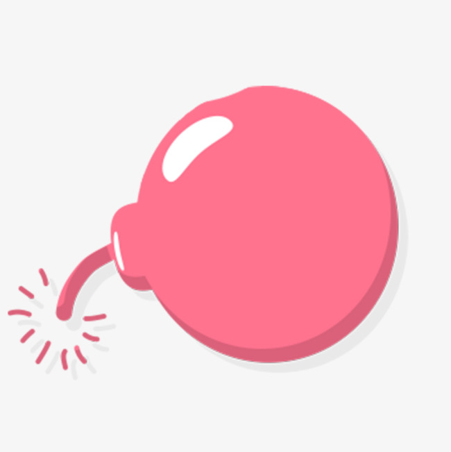 Cartoon pink round png. Bomb clipart simple