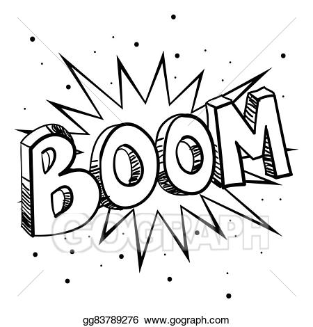 Eps vector boom stock. Bomb clipart sketch
