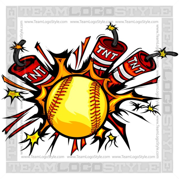 Dynamite logo vector fastpitch. Bomb clipart softball