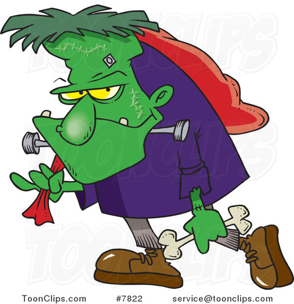 Cartoon frankenstein carrying a. Bone clipart bag