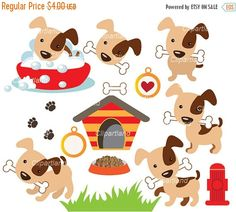 Dog clip art printable. Bone clipart bag