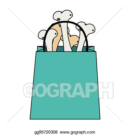 Bone clipart bag. Vector illustration pet shop