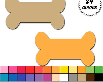 Dog etsy off sale. Bone clipart colorful