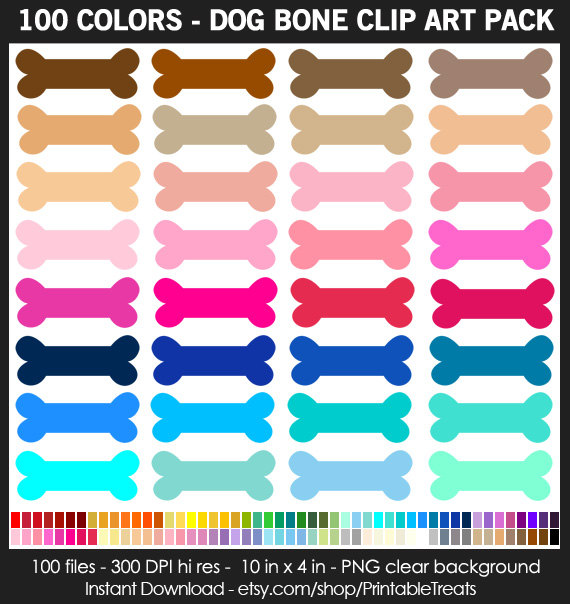 colors dog commercial. Bone clipart colorful