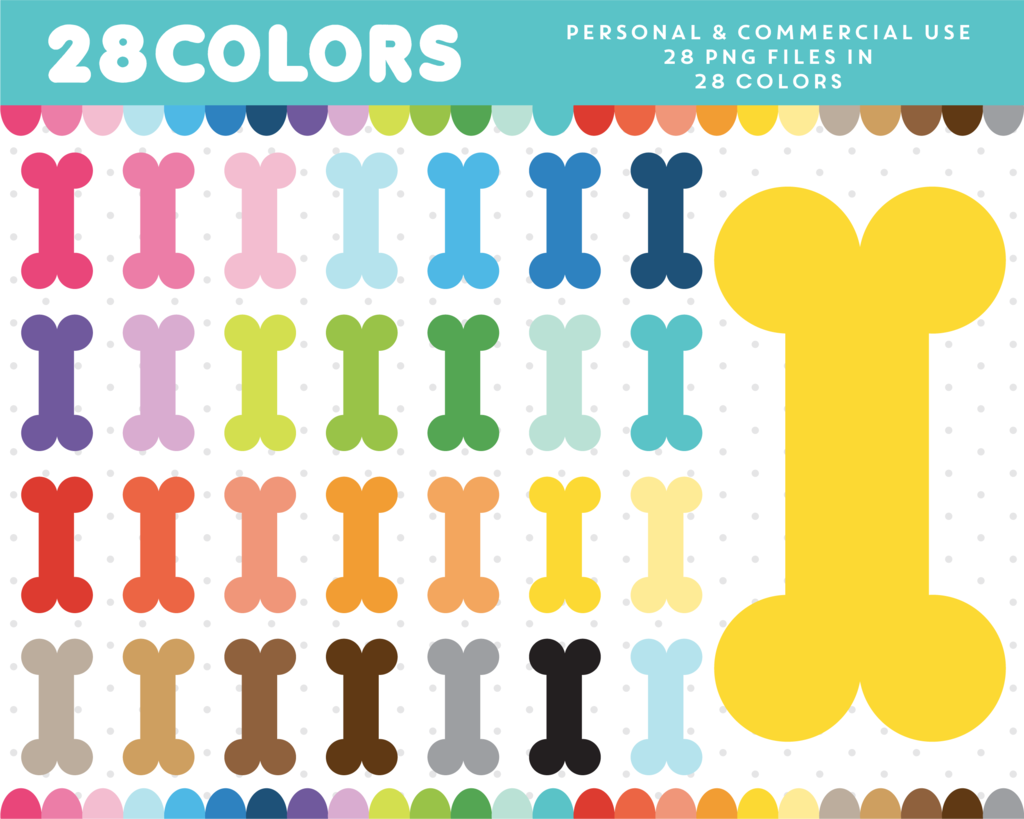 Bone clipart colorful. Dog in colors cl