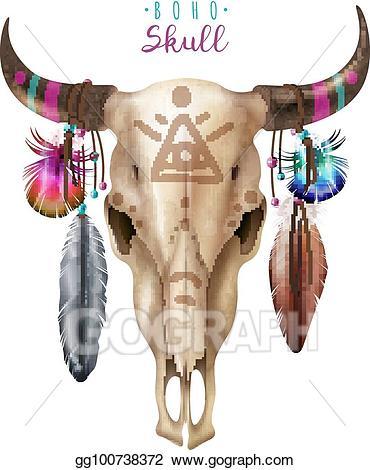 Vector art boho skull. Bone clipart cow