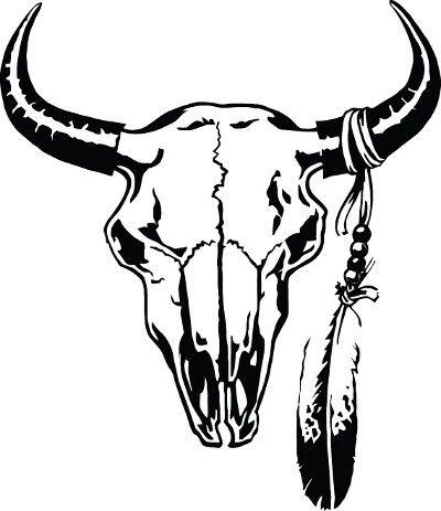 Bone clipart cow. Cattle skull decal best