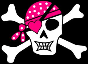 Pink pirate bones clip. Bone clipart cross