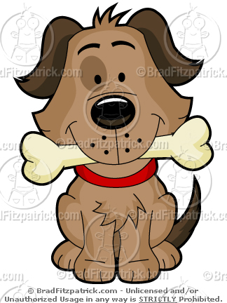 Bone clipart cute. A cartoon dog and