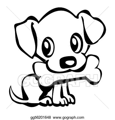 Stock illustration puppy with. Bone clipart cute