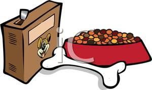 A bowl of and. Bone clipart dog food