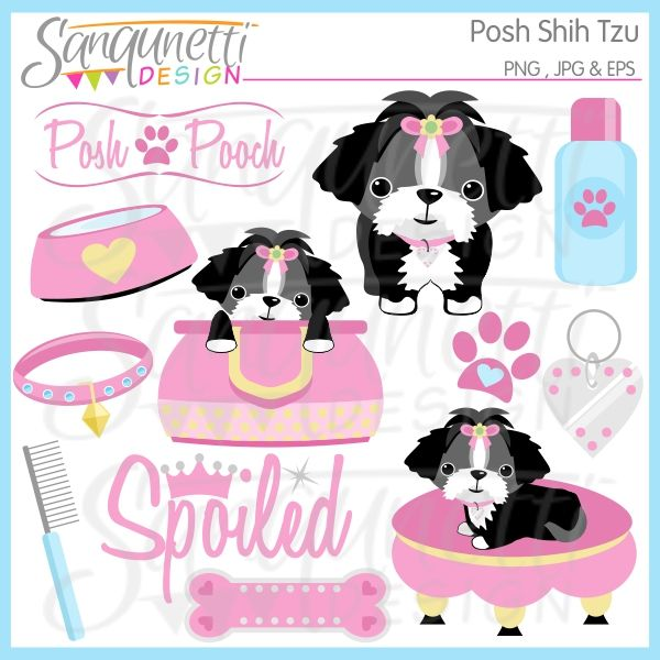 Bone clipart dog toy. Posh shih tzu party