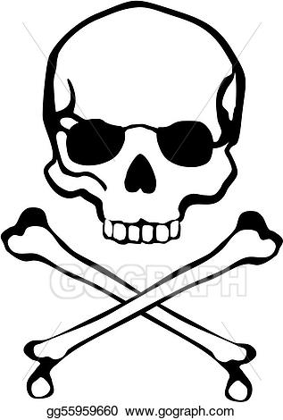 Eps illustration crossbones skull. Bone clipart easy