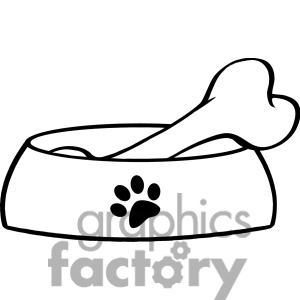 Bone clipart easy. Dog bowl with big