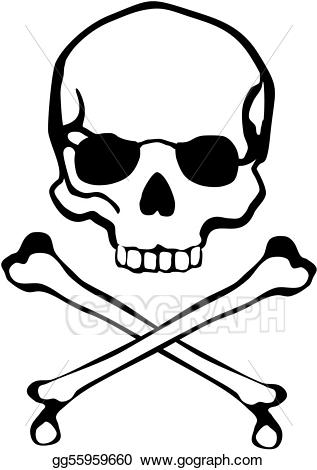 Bone clipart easy. Eps illustration crossbones skull