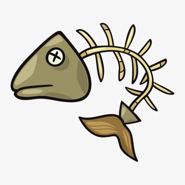 Bone clipart fish bone. Cartoon fishbone whole body