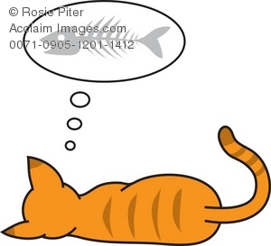 Illustration of a cat. Bone clipart fish bone