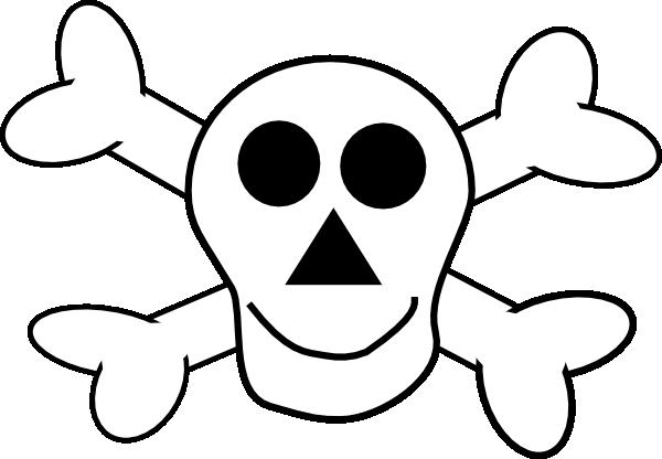 Skull and crossbones clip. Bone clipart happy