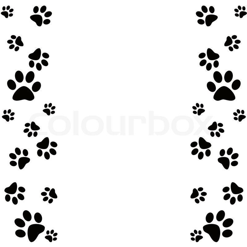 Dog paw print border. Bone clipart kid