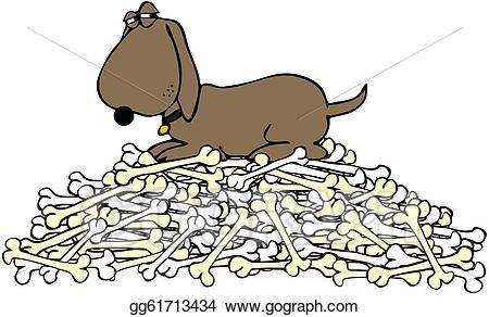 Stock illustration dog guarding. Bone clipart pile bone
