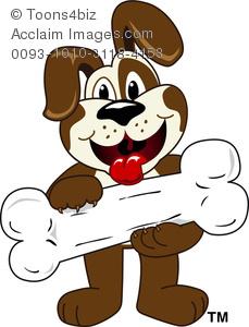 Bone clipart puppy bone. Cartoon holding a white
