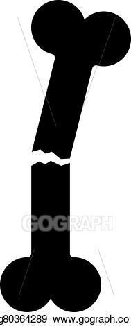 Bone clipart silhouette. Eps illustration black broken