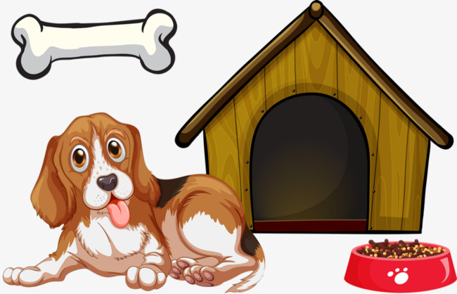 Dog house and cute. Bone clipart simple