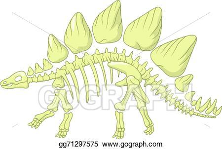 Vector art cartoon skeleton. Bone clipart stegosaurus