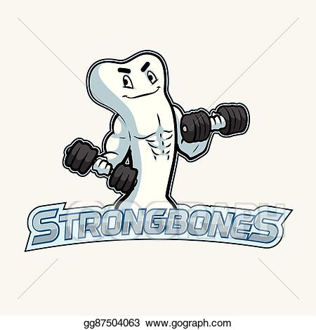 Eps vector bones logo. Bone clipart strong bone