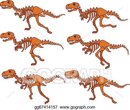 Vector illustration t rex. Bones clipart trex