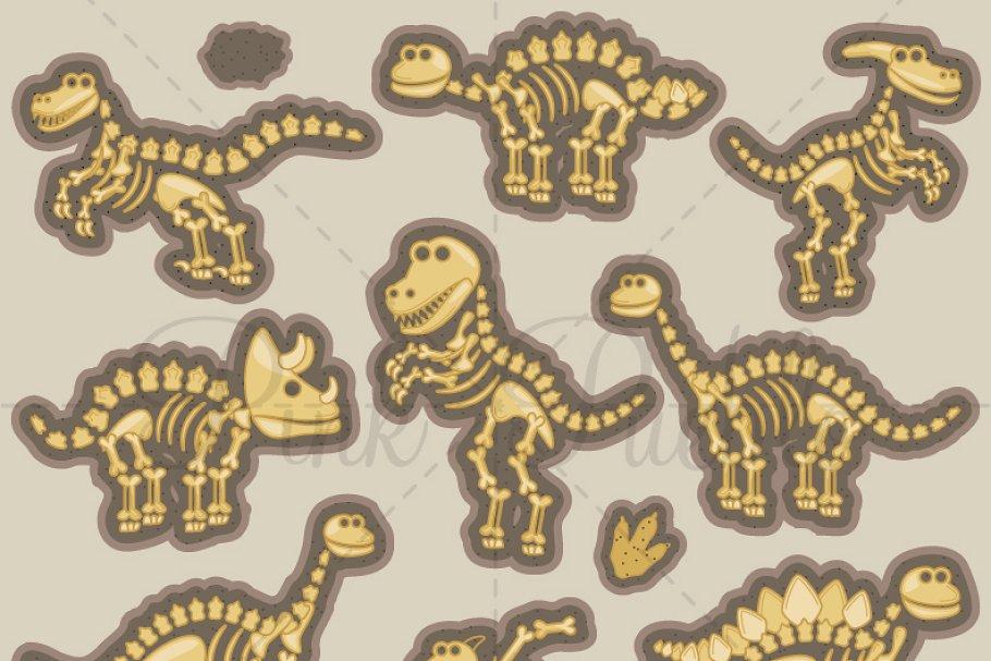Dinosaur bones and vectors. Bone clipart vector