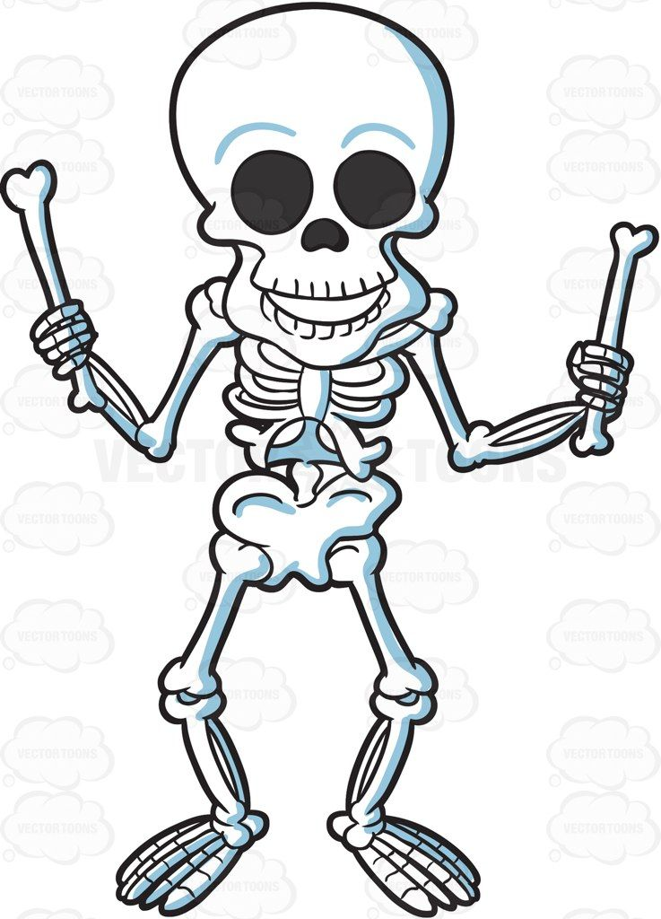 Bone clipart vector. A skeleton playing with