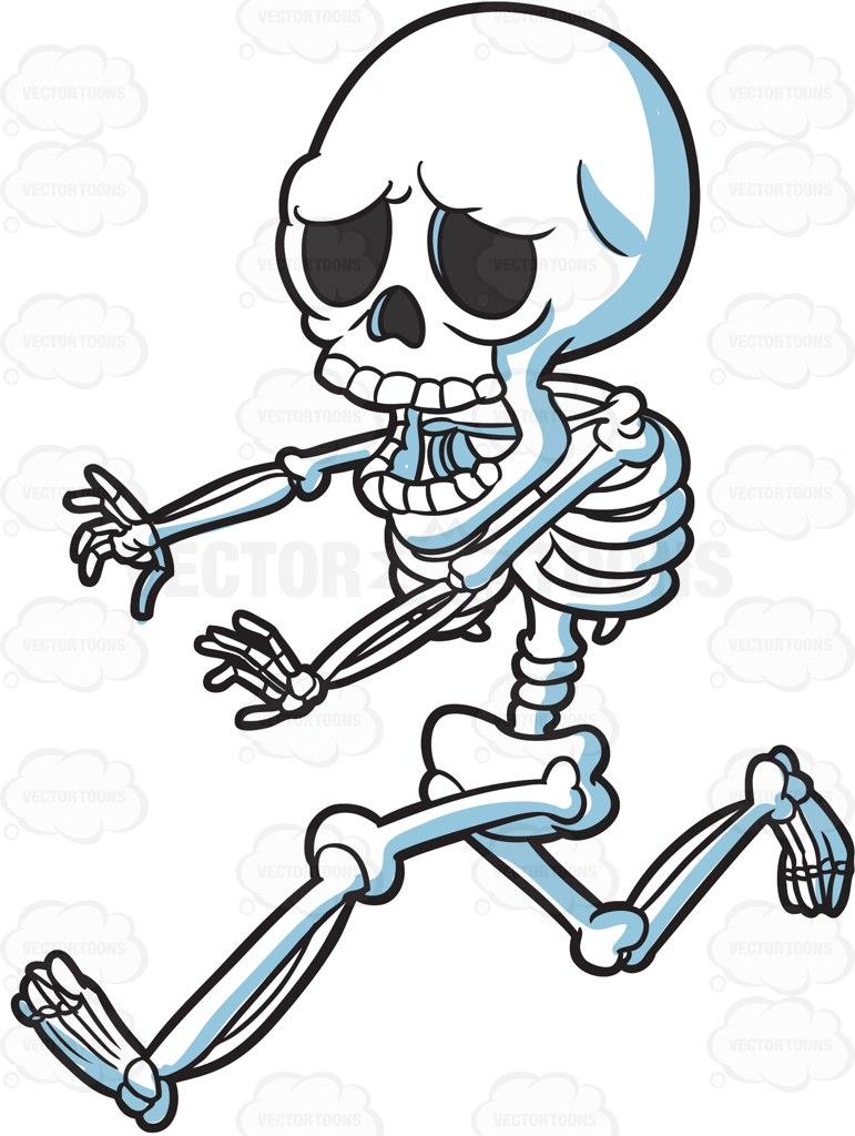 Skeleton cartoon drawing at. Bones clipart drawn