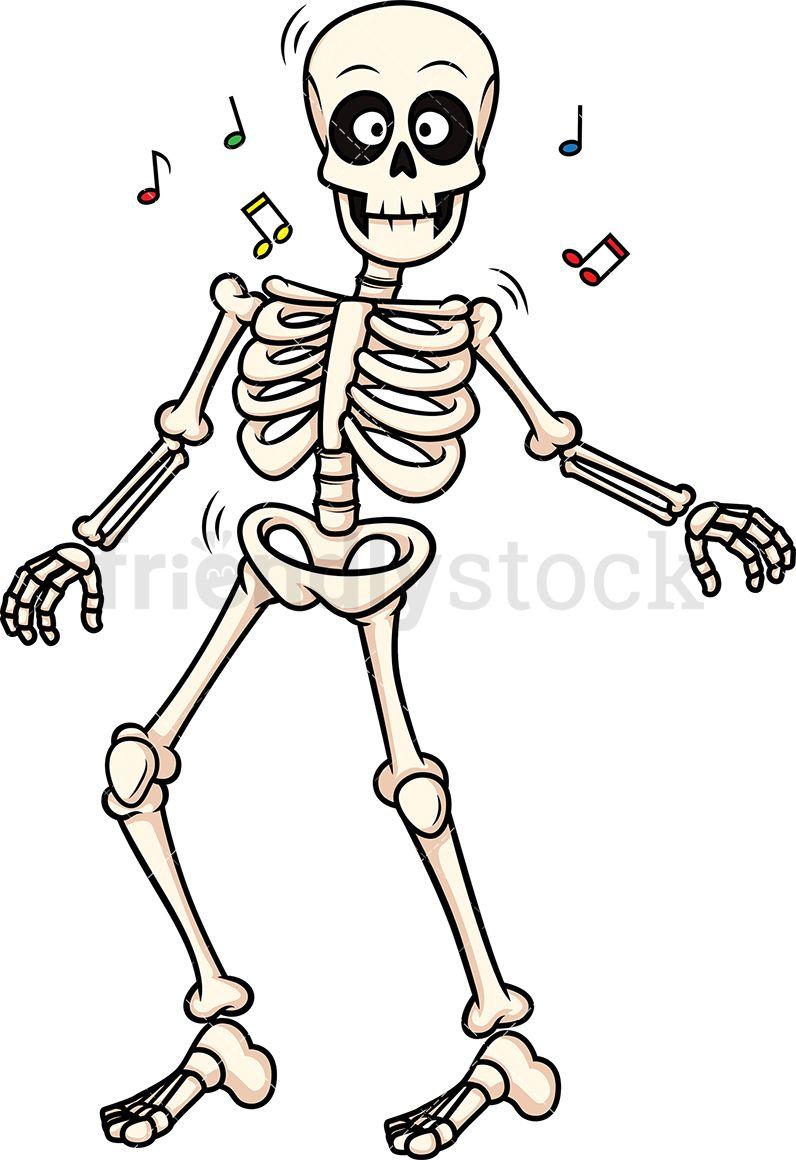 Skeleton dancing halloween in. Bones clipart illustration