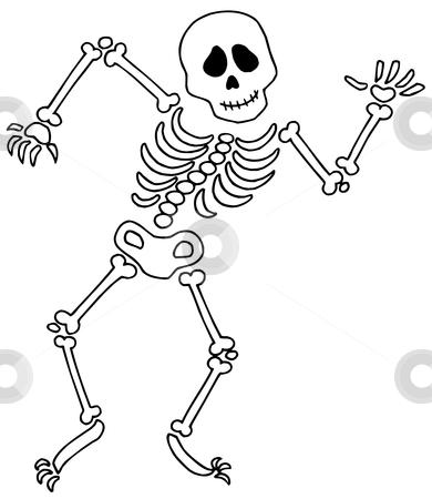 Dancing skeleton stock vector. Bones clipart simple