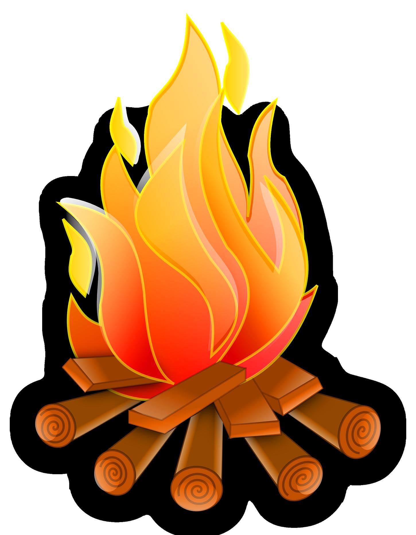 Bonfire clipart backyard bonfire. Painting art illustration