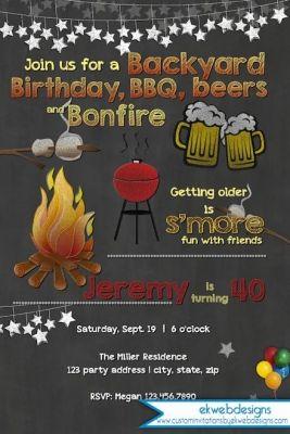 Bonfire clipart backyard bonfire. Birthday invitation bbq