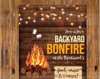 Bbq etsy invitation rustic. Bonfire clipart backyard bonfire