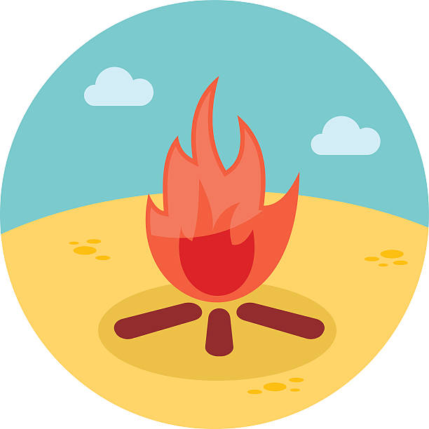 Campfire pencil and in. Bonfire clipart beach