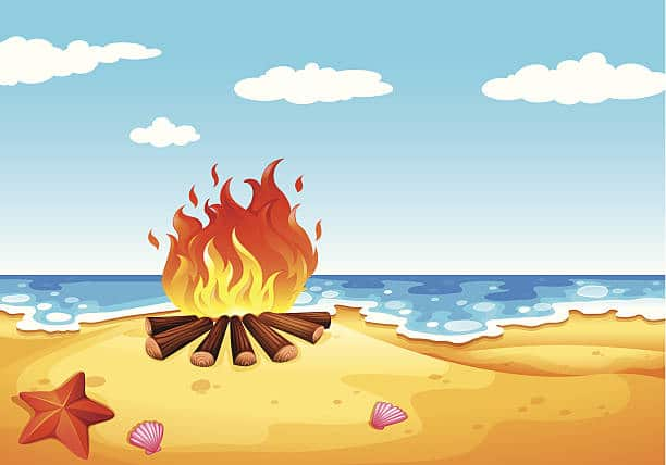 Clipart beach bonfire. Full moon carrabelle rv