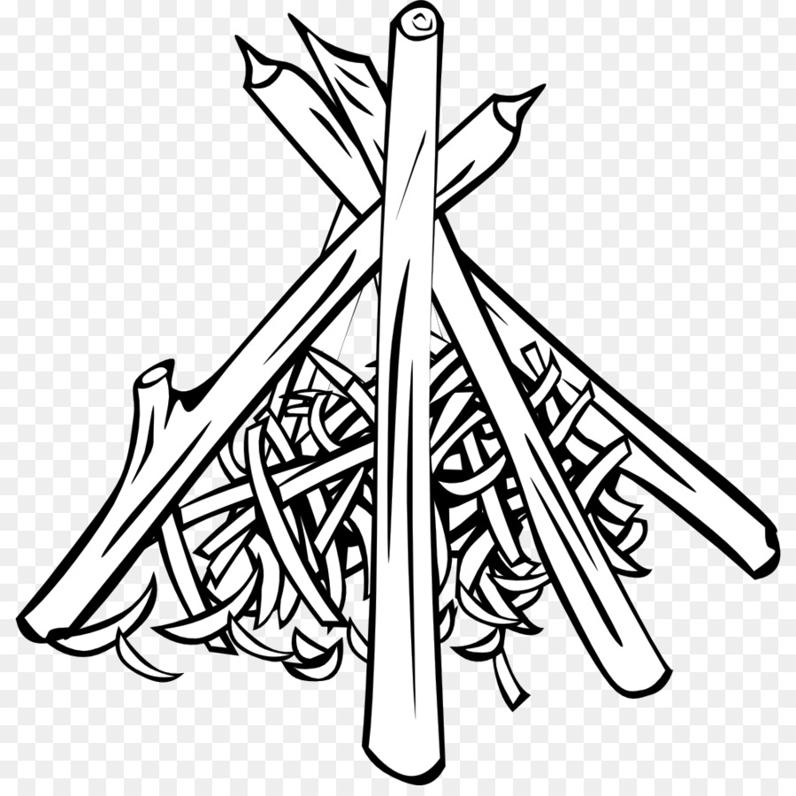Bonfire black and white. Campfire clipart line art