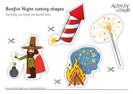 Cutting shapes . Bonfire clipart bonfire night