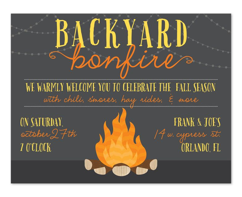 Campfire clipart party. Bonfire invitation template free