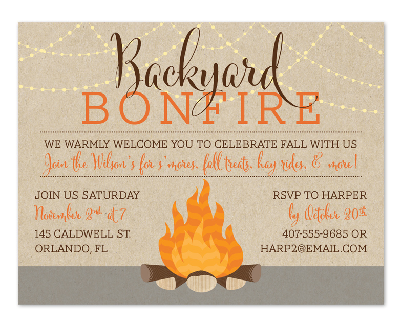 Bonfire invitation template free. Campfire clipart party