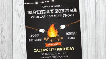 Bonfire clipart bonfire party. Camp fire invitation templates