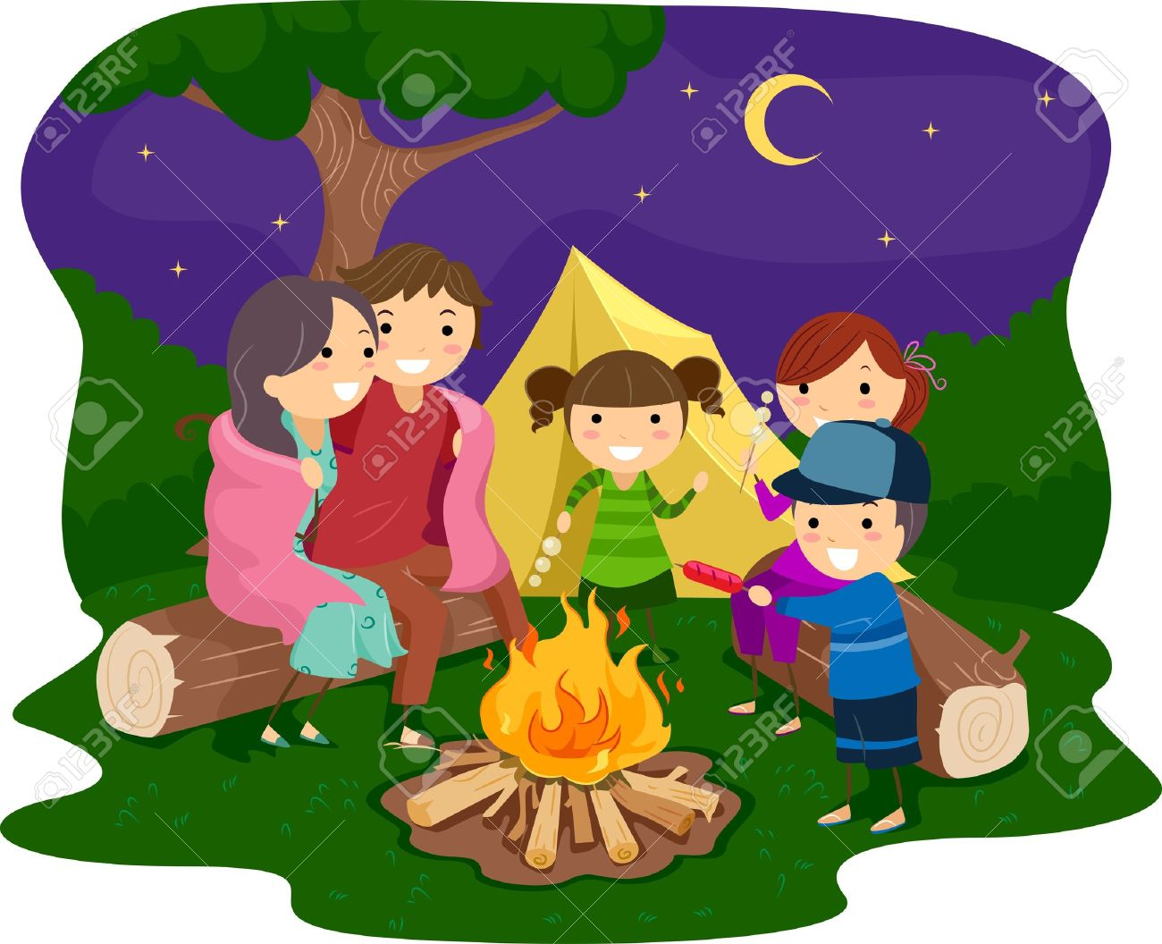 Family At Campfire Clipart