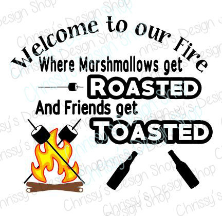 Roasted marshmallows and toasted. Campfire clipart silhouette