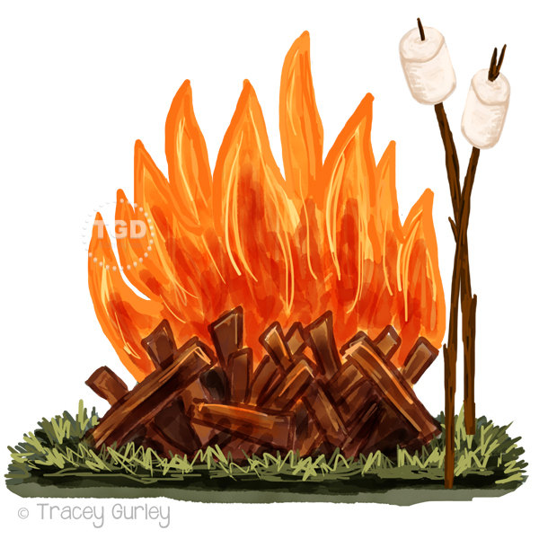 Campfire clipart roasting marshmallow. And clip art watercolor