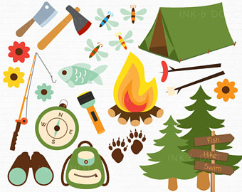Campfire and marshmallow clip. Bonfire clipart campground